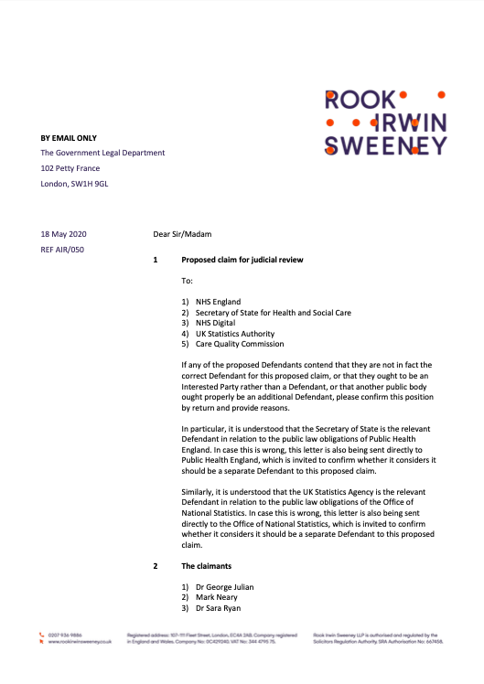 An image of the front page of a legal letter from Rook Irwin Sweeney